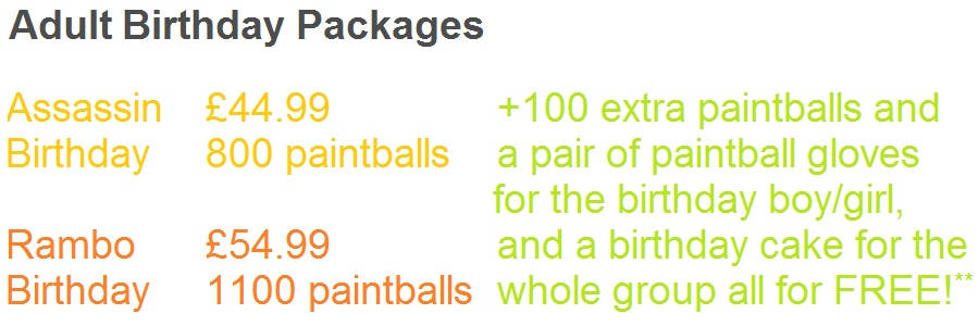 adult birthday party paintball prices
